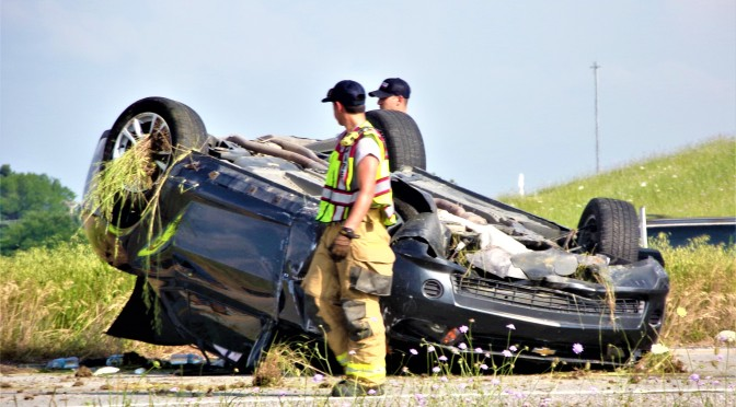 Afternoon Rollover On I-30WB Service Road Near Joe Ramsey Blvd