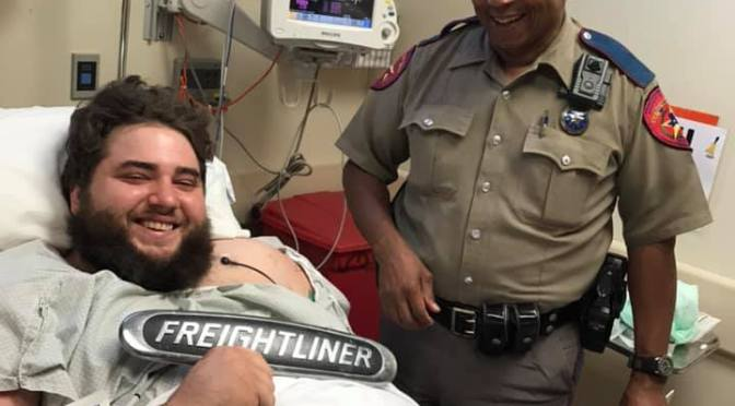 Driver Of Mangled 18 Wheeler Up & Smiling