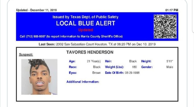 Blue Alert Issued For Suspect In Houston Texas Officers Murder